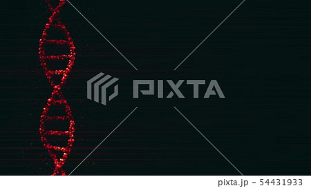 Red DNA molecule with particles, 3D rendering 54431933