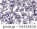 Artistic pattern with edelweiss, meadow geranium, gentiana 54433616