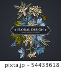 Floral bouquet dark design with edelweiss, meadow geranium, gentiana 54433618