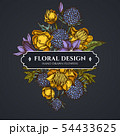 Floral bouquet dark design with bellflower, globethistle, globeflower 54433625