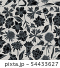Seamless pattern with hand drawn stylized bellflower, edelweiss, globethistle, globeflower, meadow 54433627