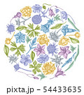 Round floral design with pastel bellflower, edelweiss, globethistle, globeflower, meadow geranium 54433635