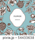 Badge over design with bellflower, edelweiss, globethistle, globeflower, meadow geranium, gentiana 54433638