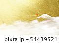 富士山と日の出(背景は金色の背景) 54439521