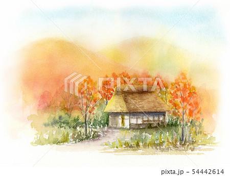 田舎の景色 秋 水彩画 54442614