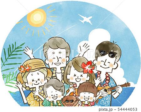 三世代家族旅行-リゾート-水彩 54444053