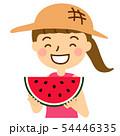 スイカ半月女の子麦わら帽子ピンクワンピース上半身 54446335