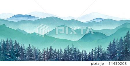 霧の山々と針葉樹林の眺め 54450208