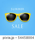 Sale Banner Sunglasses And Blue Background 54458004