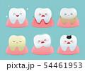 Set of cute little teeth on blue background 54461953