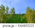 Communications and broadcast tower on top of mountain 54465525