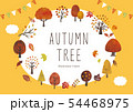 秋の木と葉のイベントフレーム水彩 54468975
