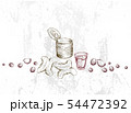 Hand Drawn of Chinese Coffee and Tea with Fried 54472392