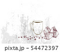 Hand Drawn of Coffee Cup with Club Sandwich 54472397