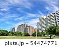 青空のマンション街と公園 54474771