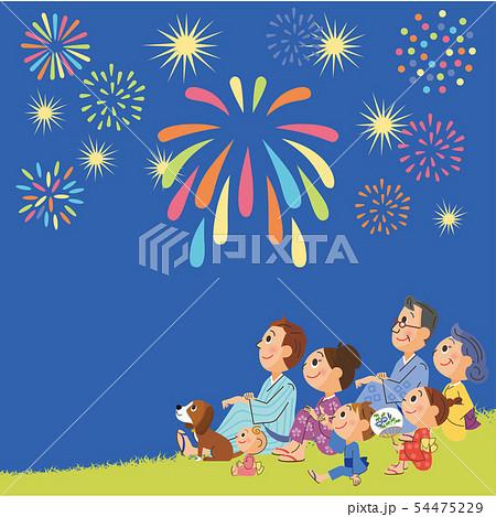 夜の花火と三世代家族 54475229