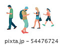People walking and with smartphone in flat style 54476724