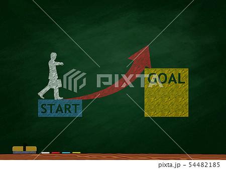 黒板に描いたキャリアアップのイメージ 54482185