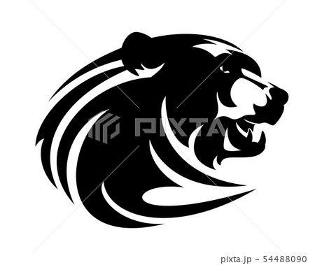 brown bear head black vector design 54488090