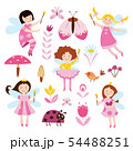 Set of fairies girls, flowers and beetles flat vector illustration isolated, 54488251