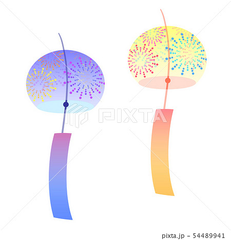 風鈴のイラスト素材 花火模様のイラスト素材