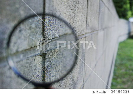 コンクリートブロック塀の目地を拡大鏡で見る 54494553