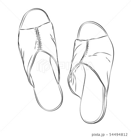 Female shoes sketch style in the top view. 54494812