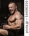 muscular bodybuilder fitness men doing arms 54496350