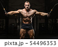 muscular bodybuilder fitness men doing arms 54496353