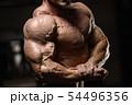 muscular bodybuilder fitness men doing arms 54496356