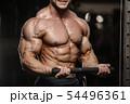 muscular bodybuilder fitness men doing abs 54496361