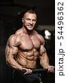 muscular bodybuilder fitness men doing arms 54496362