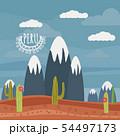 Peru landscape mountains, cactus, cartoon style, isolated, vector, illustration 54497173
