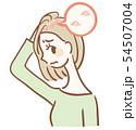 頭皮にニキビができた女性のイラスト 54507004
