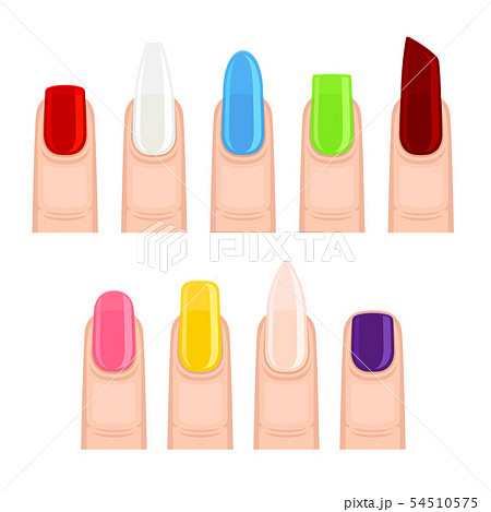 Nails after manicure. Vector illustration on white background. 54510575