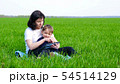 Happy family: mother and child sitting on the green grass. Mom and boy use tablet computer. 54514129
