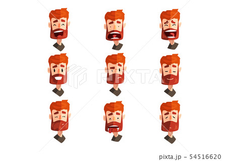 Redhead bearded man with emotional face set, male avatar with facial expression vector Illustrations 54516620