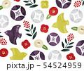 ポップな和柄椿と鳥水彩 54524959