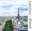 凱旋門から眺めるエッフェル塔とパリ市内 縦位置 54525872
