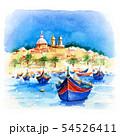 Taditional eyed boats Luzzu in Marsaxlokk, Malta 54526411