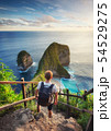 Traveler look at the ocean and rocks, Indonesia 54529275