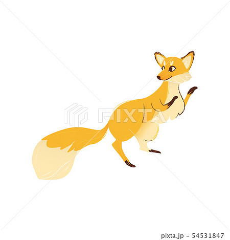 Side view of fox standing on hind legs with front ones raised up cartoon style 54531847