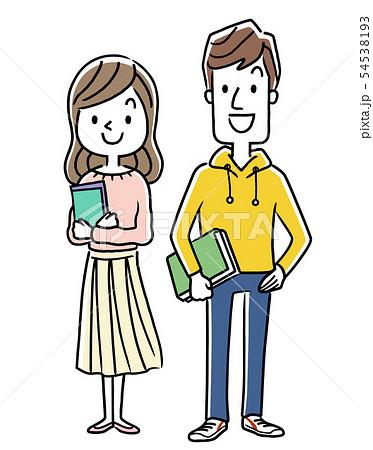 笑顔の男性と女性、大学生、学生 54538193