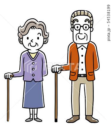 杖をつくシニア男性とシニア女性 54538199