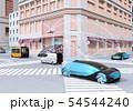 交差点に通過中の自動運転車の間に通信して情報を交換するイメージ。コネクテッドカーコンセプト 54544240