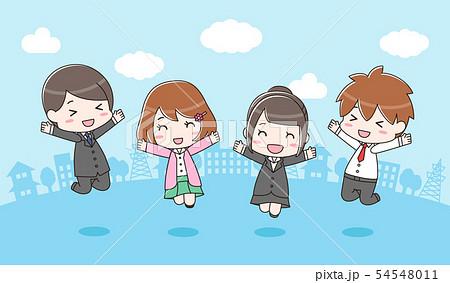 嬉しそうにジャンプしている男女(スーツ)背景あり 54548011