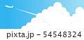 夏の青空と入道雲と飛行機 54548324
