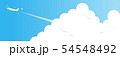 夏の青空と入道雲と飛行機(きらきら付き) 54548492