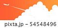 夕焼け空と入道雲と飛行機 54548496