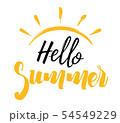Hello Summer Inscription with a Sun 54549229
